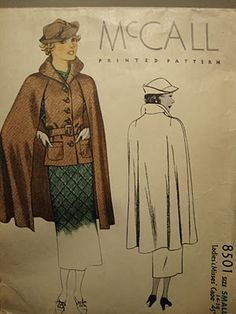 lovely 1930s cape (reminds me of Burda's trench-cape in issue 08/2009) | McCall's 8501