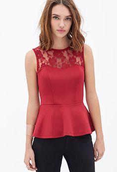Lace Scuba Knit Peplum Top | FOREVER21 - 2000083624