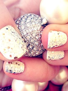 Forget the boring, pale pink manicure for that special occasion. Crown Me Already Opi Nail Polish, over white or black nail polish,will give you that extra punch of glitter! #nails, #beauty