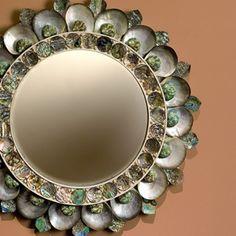 Thomas Boog shell mirror - so fun! Maison Gerard round sea shell sun mirror