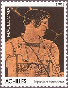 Achilles, the famous Greek hero from Thessaly, wearing a so-called composite cuirass, image from a BC Classical Period, Classical Greece, Stamp World, Postage Stamp Art, Love Stamps, Achilles, Small Art, Stamp Collecting, Ancient Greek