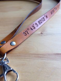 Leather Longitude Latitude Lanyard Badge by LoveThatLeather