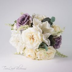 Garden rose bouquet, Wedding bouquet, Bridal bouquet, rose wedding bouquet, silk wedding bouquet, Silk bridal bouquet Silk Bridal Bouquet, Silk Wedding Bouquets, Bridesmaid Bouquet, Corsage And Boutonniere, Groom Boutonniere, Ivory Roses, Lavender Roses, Garden Rose Bouquet, Made Of Honor