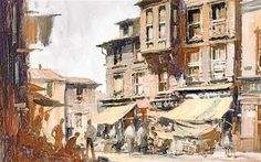 'Wooden Houses, Istanbul' by Edward Seago, a popular 20th-century British artist