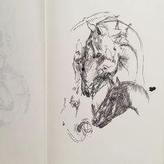 "ayaenomura2017/09/01 ""Horses"" ' ' #art #drawing #doodle #artwork #artoftheday #artlife #illust #illustration #instart #instadraw #instaartist #illustagram  #アート #イラスト #スケッチ #デッサン #ペン画 #ayaenomura #nofilter #moleskine #moleskine_arts #モレスキン #馬 #horse #horses2017/09/02 00:27:46"