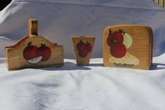 kitchen table set, napkin holder, toothpick holder. salt and pepper holder, acrylic paintings, red and green apples, apple pie, hand painted by WoodnThingsNY12534 on Etsy