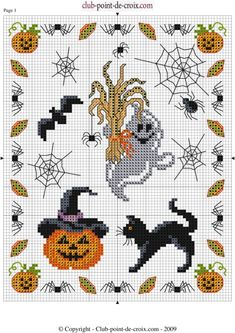Fall Cross Stitch, Cross Stitch Boards, Cross Stitch Needles, Cross Stitch Heart, Halloween Embroidery, Halloween Cross Stitches, Cross Stitch Designs, Cross Stitch Patterns, Cross Stitching