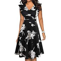 YATHON Dresses for Women Casual Summer Beach Vacation Homecoming Navy Blue Floral Print Round Neck Stretchy Cotton Knee Length Holiday Party Dress (L, Floral Trendy Dresses, Modest Dresses, Cute Dresses, Casual Dresses, Summer Dresses, Modest Clothing, African Fashion Dresses, Fashion Outfits, Holiday Party Dresses