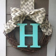 Farmhouse Rustic Monogram Wreath with Chevron Burlap- Aqua Initial Monogram Wreath, Diy Wreath, Burlap Wreaths, Wreath Making, Burlap Ribbon, Wreath Ideas, Chevron Burlap, Chevron Monogram, Chevron Ribbon
