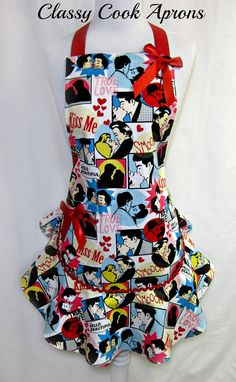 Apron RETRO LOVERS, Comic Strip Characters, SEXY Ruffled Flounce, Pretty Party Hostess, Unique Gift, by ClassyCookAprons, $38.50
