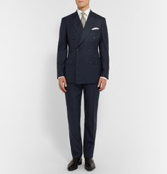 Harrys Navy Slim-fit Checked Wool, Silk And Linen-blend Suit Trousers Kingsman