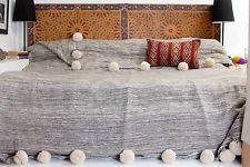 Moroccan Pom Pom Blanket Throw Coverlet Rug, Handwoven Berber Wool Bedding, BW9