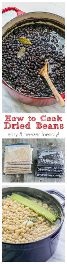 How to Cook Dried Beans: Easy and freezer friendly! Home cooked beans can be used for any recipe that calls for canned beans could be good for holiday cooking. or preparing for soups or chili. Freezer Cooking, Cooking Recipes, Cooking Videos, Cooking Food, Freezer Soups, Vegan Freezer Meals, Cooking Tips, Basic Cooking, Girl Cooking