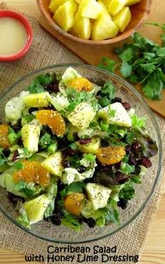 Caribbean Salad with Honey Lime Dressing (just like they use at Disney's 'Ohana restaurant!) Full of goodies! #vegetarian #glutenfree option