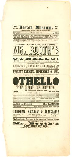 Playbill for Junius Booth (John Wilkes Booth's Father) as Iago in Othello  $400