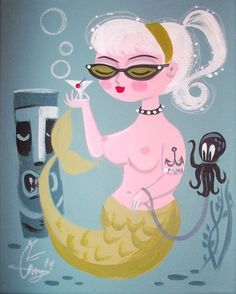 EL GATO GOMEZ PAINTING RETRO 1950S PINUP GIRL MERMAID TIKI BAR HAWAII OCTOPUS in Paintings | eBay