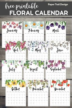 2020 Free Printable Calendar - Floral. Watercolor flower design calendar pages for a office or home calendar for work or family organization. #papertraildesign #calendar #freecalendar #floralcalendar #organization #organize #planner #freeplanner #freeplannerprintables #freecalendar