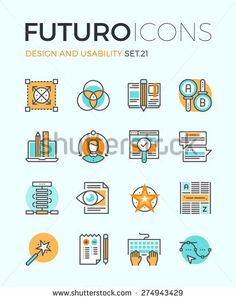 Line icons with flat design elements of graphic design and web product development, UI and UX website making, A/B testing usability project. Modern infographic vector logo pictogram collection concept