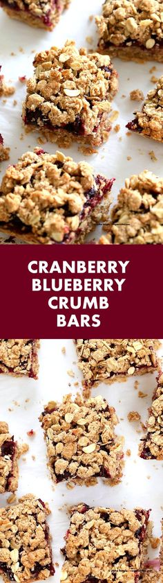 Cranberry Blueberry Crumb Bars. Easy Blueberry Bars. Crumble bars with blueberry cranberry chia layer, shortbread and oat crumb topping. #Vegan #Recipe | VeganRicha.com