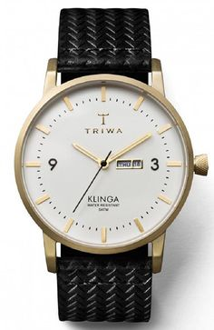 b7895d40fe94 Triwa Ivory Klinga Unisex Day and Date Watch Brushed Goldtone Black Leather  Strap KLST103 GC010113