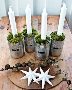 Advent wreath in modern design - Christmas decoration with ordinary . - Advent wreath in modern design – Christmas decoration with ordinary things to make yourself - German Christmas, Noel Christmas, Winter Christmas, All Things Christmas, Christmas Crafts, Christmas Decorations, Christmas Candles, Simple Christmas, Reindeer Christmas