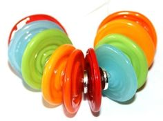 Summer Mix Disc Bead Pairs  Handmade Lampwork by FireandFibers, $24.00