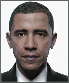 Portrait Of Obama, Qi Sheng Luo on ArtStation at https://www.artstation.com/artwork/Z0O8