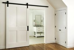 DIY barn door can be your best option when considering cheap materials for setting up a sliding barn door. DIY barn door requires a DIY barn door hardware and a Home Design, Home Interior Design, Design Ideas, Interior Paint, Interior Ideas, Modern Interior, Bathroom Barn Door, Diy Barn Door, Interior Sliding Barn Doors