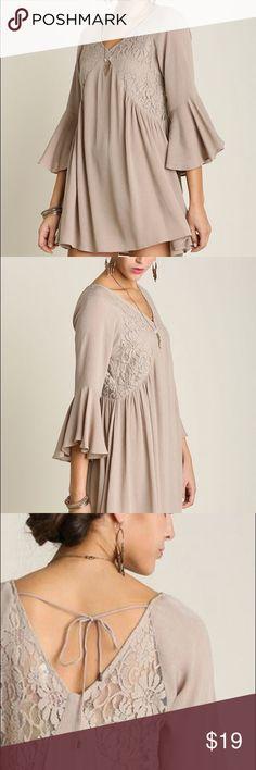 Umgee Taupe Lace Peasant Tunic Dress Beautiful taupe dress. It's brand new, never worn. Umgee Dresses Mini