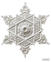 Moorish Plaster Ceiling Medallion #710 made by Decorators Supply Corp. is 17 ½ inches wide with a 1 ¼ inch relief. At its heart is a six-pointed star, expanding outward like a snowflake.    We have been making architectural embellishments and inspiring home decor since 1883 with all natural products crafted by hand and made in the USA.