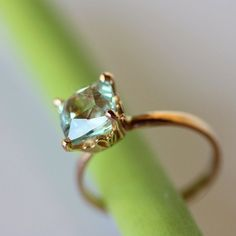 Aquamarine RIng In 14K Rose Gold Engagement Ring by louisagallery