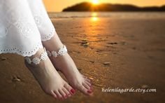 White Crochet Barefoot Sandal, Nude shoes, Foot jewerly, Bridal accessories, Destination wedding, Anklet, Barefoot bride  $12.00 USD