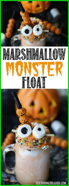 I Scream! You Scream! We will all be screaming for this delicious Halloween Marshmallow Monster Float! If you're a fan of an orange creamsicle, you are going to love this ice cream float recipe! It's the perfect Halloween party treat.