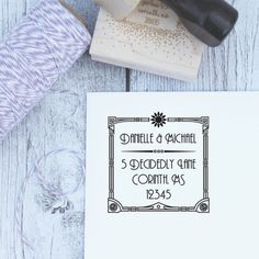Art is Deco Custom Rubber Address Stamp, Wedding Stamp, Wooden Stamp, Self Inking, Rubber Stamp, Great Gatsby, Art Deco, Gatsby Wedding