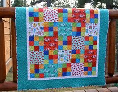 Quilt Baby Toddler Gnome Living Handmade Patchwork Boy Girl Scrappy Bright Colors Nursery Crib Cot
