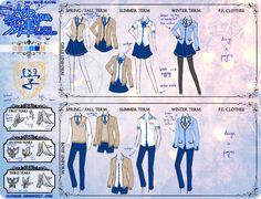 [AeRyoun] school uniform reference by PlatinaSi on DeviantArt Anime Uniform, Anime Outfits, Girl Outfits, Manga, Anime Drawing Styles, Fashion Terms, Anime Dress, Uniform Design, School Dresses