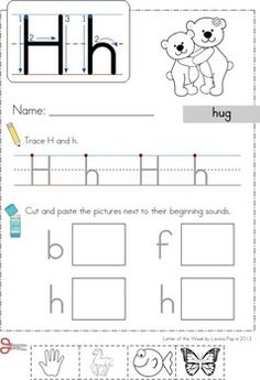 Phonics Letter of the Week Hh: Handwriting + Beginning Sounds cut and paste