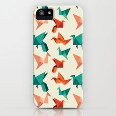teal paper cranes iPhone Case