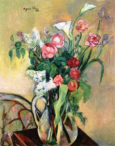 Le Jardin de la rue Cortot 1928  Bouquet of Flowers in a Crystal Vase 1928
