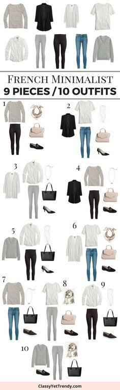 Turn 9 basic essentials in your closet into 10 outfits, French Minimalist sryle! These 9 tops, pants and jeans are classic and timeless pieces that are always in fashion. They mix well with one another because of the neutral colors.