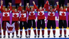 Members of Team Canada celebrate during the medal ceremony after the women's ice hockey tournament at the 2014 Winter Olympics in Sochi, Russia, Thursday, Feb. Women's Hockey, Hockey Girls, Olympic Curling, Women's Curling, Hockey Tournaments, Canadian Girls, Olympic Team, National Hockey League, Winter Olympics