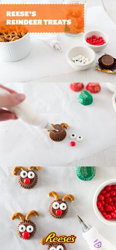 30 Second Reindeer Treats - made with Miniature Reese's, candy eyes, and pretzels. Such a cute and EASY treat to make for Christmas! Holiday Fun, Christmas Desserts, Christmas Treats, Holiday Treats, Holiday Recipes, Christmas Biscuits, Christmas Cookies, Christmas Recipes, Christmas Christmas