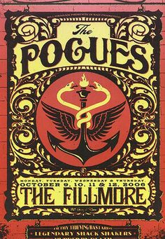 Original concert poster for the Pogues at The Fillmore in San Francisco. Art by Todd Slater. Tour Posters, Band Posters, Music Posters, Film Posters, Music Artwork, Art Music, Norman Rockwell, Caricatures, Concert Rock