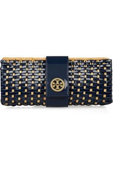 Tory Burch Rattan and Faux Patent-Leather Clutch