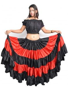 Light Coral Skirt 25 Yard 4 Tier Cotton Belly Dance Tribal Gypsy  Flamenco Jupe