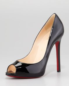 d152f770167 Christian Louboutin Flo Patent Leather Red Sole Peep-Toe Pump