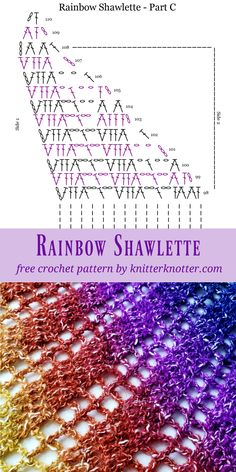 - KnitterKnotter The Rainbow Shawlette is a FREE beginner friendly, one skein pattern made using the Lion Brand Shawl in a Ball yarn that works up quickly and makes for a beautiful accessory to brighten up any outfit! Crochet Square Patterns, Shawl Patterns, Crochet Diagram, Crochet Wool, Crochet Cross, Free Crochet, Crochet Shawls And Wraps, Crochet Scarves, Crochet Clothes