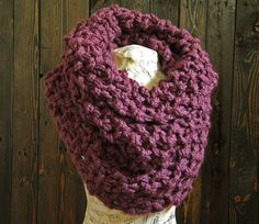 Oversized Plum Knit Cowl Chunky Knitted Scarf by OttersGrove, $69.00