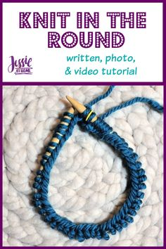 """""""Join to knit in the round"""" was a terrifying phrase the first time I read it, but once I learned how simple it was, I had to laugh at myself. #TakeCareNotToTwist #KnitInTheRound #Stitchopedia #JessieAtHome #Crafts Knitting Help, Easy Knitting, Knitting Stitches, Knitting Patterns Free, Crochet Patterns, Knitting Tutorials, Knitting Ideas, Joining Yarn, Crochet Round"""