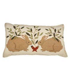 Two Rabbits Folk Art Pillow   Bethany Lowe - The Holiday Barn